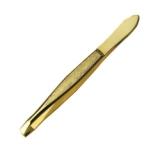 Пинцет со скошенными узкими кончиками, золотое металлизированное покрытие, размер 3,0